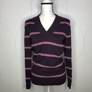 Gap striped v-neck sweater purple Medium